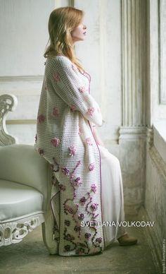 """Купить Пальто вязаное летнее """"Розовые мечты"""" - белый, вязаное пальто, пальто вязаное"""