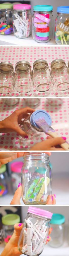 Painted Mason Jarsy | Spring Organization Organizing Ideas for Bedrooms | DIY Storage Ideas for Teens Room Decor