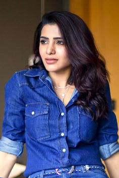 Samantha Akkineni Photo Shoot In Blue Shirt Tight Jeans - Actress Doodles Samantha In Saree, Samantha Ruth, South Actress, South Indian Actress, Samantha Images, Babe, Actress Navel, Beauty Full Girl