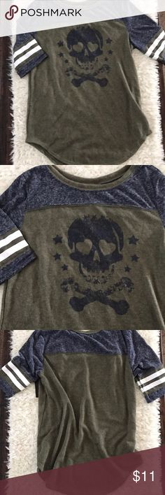 SKULL BASEBALL TEE Scoop neck••rounded bottom hem••sleeves hit right at top of the elbow••body is 100% cotton (olive color) upper body & sleeves 76% polyester 24% cotton (heather blue color)••any questions please feel free to ask!!  Tops
