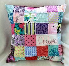 oreiller personnalisé style patchwork