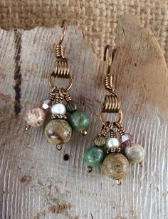 Natural Jasper and Pearl Dangle Earrings Antique Bronze Wire
