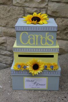 Custom Wedding Card Box, 3 Tier, Card Holder, Square, Yellow and Gray, Sunflowers, Wedding Decor