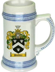 Buckley Coat of Arms / Family Crest stein mug | stein mug $21.99  at www.4crests.com - This stein starts with the family coat of arms hand drawn digitally. We then use a high quality 22 oz. ceramic stein to apply the coat of arms to via sublimation.