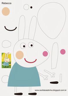 Rebecca - Moldes Peppa Pig e sua turma Pig Crafts, Felt Crafts, Crafts For Kids, Paper Crafts, Molde Peppa Pig, Cumple Peppa Pig, Peppa E George, George Pig, Felt Finger Puppets