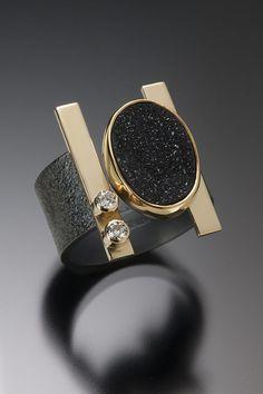 Oxidized Sterling Silver, and Gold, Black Drusy Quartz and White Diamond… - Gold Jewelry Contemporary Jewellery, Modern Jewelry, Jewelry Art, Jewelry Rings, Unique Jewelry, Jewelry Accessories, Fine Jewelry, Jewelry Design, Druzy Jewelry