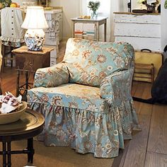 SLIPCOVERED IN STYLE-SERENE AND QUAINT IN BLUE, CREAM, AND BROWN -CREDIT TO SouthernLiving.com    JD