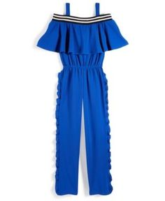 Nowadays Skai Tween Crepe Jumpsuit, Big Girls & Juniors - Blue S Girly Girl Outfits, Fresh Outfits, Cute Outfits For Kids, Rompers For Kids, Jumpsuits For Girls, Girls Fashion Clothes, Teen Fashion Outfits, Ashley Clothes, Beautiful Pakistani Dresses