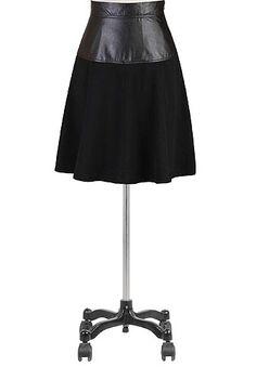 I <3 this Faux leather ponte skater skirt from eShakti