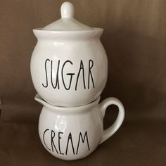 SUGAR CREAM Rae Dunn Clay Magenta bowl creamer CHRISTMAS #raedunn