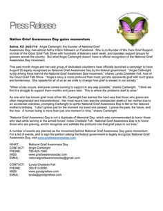 National Grief Awareness Day Press Release!