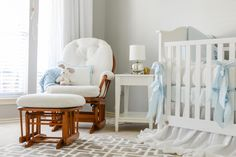 White and Blue Vintage Nursery - Project Nursery
