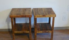 Reclaimed wood end table or night stand pair