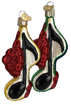 Musical Note with Bow Glass Ornament