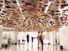 Beneath False Ceiling, ( floating books ) a work by Richard Wentworth at the Istanbul Modern