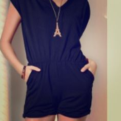 Black Romper This casual romper is lightweight, sharp and sleek! Pants Jumpsuits & Rompers