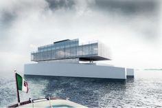 lujac desautel envisions glass luxury yacht on floating platform Palace, Floating Platform, Glass Elevator, Yacht Interior, Unusual Homes, Floating House, Yacht Design, Boat Design, Super Yachts