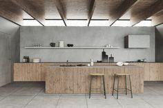 Lotta Agaton Interiors for Norrlands trä (The Design Chaser) Interior Design Kitchen, Room Interior, Style Loft, Wood Panel Walls, Minimalist Kitchen, Modern Minimalist, Kitchen Cabinetry, Finding A House, Interior Styling