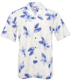Hibiscus Shadow Mens Hawaiian Aloha Shirt in Blue #stylefromachitownerseye | - Paradise Clothing Company