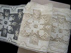 3 yards Antique Vintage Filet Net Darned Lace Insertion Trim Edging