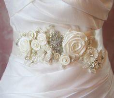 Ivory Bridal Sash Wedding Belt Antique White by TheRedMagnolia