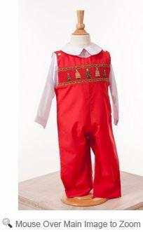 Lezame girls red smocked christmas tree bishop dress baby clothes