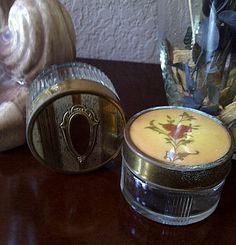 Two Vintage Ornate Glass Powder Cosmetic Jars by maggiecastillo, $20.00