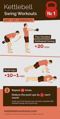 1 of 7 kettlebell swing workouts that helps to burn fat, gain strength, add muscle and improve your cardio. #kettlebell #kettlebellworkout #exercise #fitness