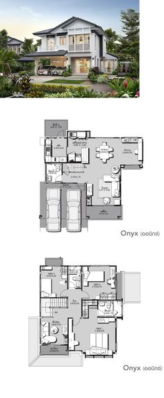 LAND AND HOUSES Dream House Plans, Modern House Plans, Small House Plans, Modern House Design, House Floor Plans, American Houses, Sims House, Villa, Home Design Plans