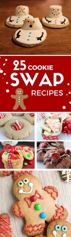 25 Cookie Swap Recipes. Great idea for holiday parties, Christmas Cookies and office gifts.