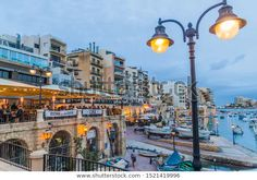 SAN GILJAN, MALTA - NOVEMBER 11, 2017: Waterfront of San Giljan in Malta