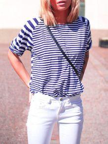 Blue White Round Neck Striped T-shirt