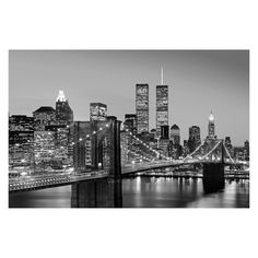 Ideal Decor Manhattan Skyline at Night Wall Mural - DM625