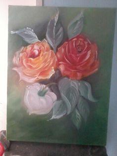 Rosas..óleo sobre tela.