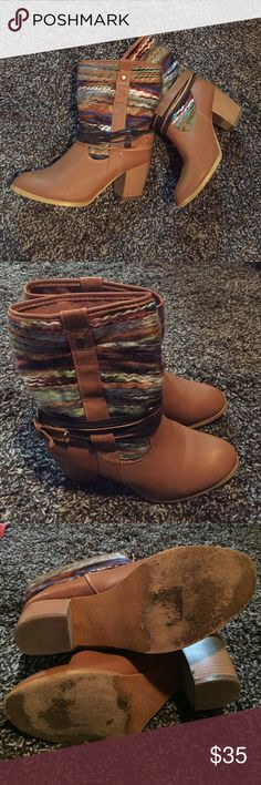"Francesca's ""Coachella"" Boots Boots from Francesca's. Multicolored yarn wrapping around the boot, a buckle detail on the side, and thin leather straps loosely wrap around the outsides for a cute festival look. Worn once, only wear is on the front bottom sole of the boot. Otherwise look brand new Francesca's Collections Shoes Ankle Boots & Booties"