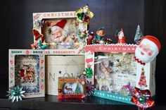 Vintage Christmas shadowboxes