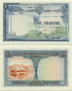 French Indo-China  1 Piastre = 1 Riel (1954) (trees; houseboat)
