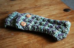 Cable Hand Knit Earwarmer Headband with Button