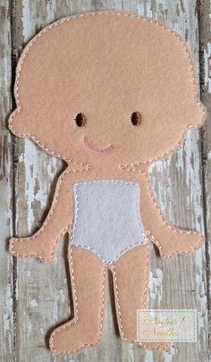 Fieltro muñeca Jean Girl por NettiesNeedlesToo en Etsy