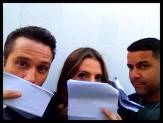Seamus, Stana and Jon BTS