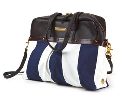 Striped Satchel Covers, amazing combo of materials, leather and stripped canvas with nice detailing