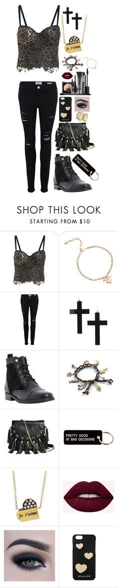 """""""Solid Gold"""" by cupkatyk ❤ liked on Polyvore featuring Dinny Hall, Frame, Dune, LORAC, GUESS by Marciano, Various Projects, Jade Trau, Too Faced Cosmetics, Michael Kors and Freida Rothman"""