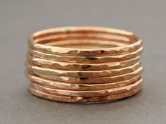 6 Rose Gold Rings thin stackable set of six thumb by bluebirdss, $54.00