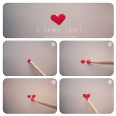 Easily paint a heart with a toothpick.  Easy to do on your nails!