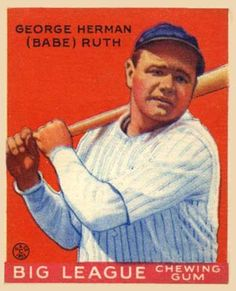 Babe Ruth 1933 Goudey baseball card ✮✮ Please feel free to repin ♥ღ www.morebaseballcards.com
