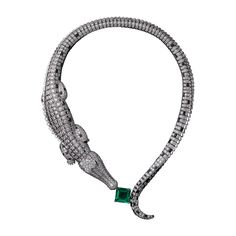 High Jewelry necklace Crocodile Orinoco necklace - white gold, one 9.04-carat square-shaped emerald from Colombia, emerald eyes, obsidians, calibré-cut diamonds, brilliant-cut diamonds.