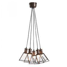 Lámpara de techo con 5 pantallas de cristal emplomado transparente y estructura de metal galvanizado color cobre. Para bombillas E-14 no incluida.