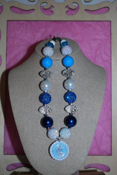 Chunky Bead & Bottle Cap Necklace  OLAF  by beadazzledkiddos, $17.00