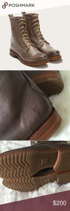 Frye veronica lace up ankle boots Brand New in box, but have a few flaws that I don't know if they are factory defects or just part of the style, the color its distressed around the toe. Some scratches too. Frye Shoes Ankle Boots & Booties