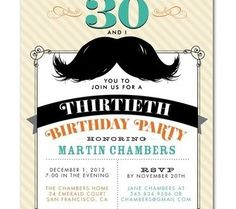 Invitation with a mustache for adult birthday | Handspire [This website has content in Spanish]